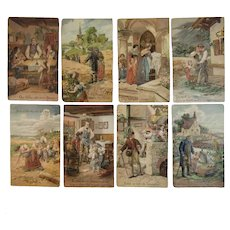German Lord's Prayer Postcard Set Germany Our Father Embossed Lords