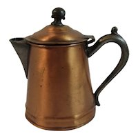 Copper Pitcher with Pewter Handle Spout and Finial Brass Hinge Early Syrup or Creamer