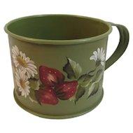 Vintage Tole Painted Tin Cup Mug or Measure Artist Signed Karen Lehigh Toleware Pennsylvania Folk Art