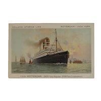 Holland American Line TSS Rotterdam Ship Boat Postcard Van Leer Artist