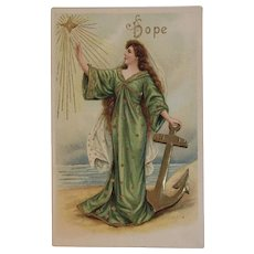 1908 German ASB Asti Lady Angel Nautical Hope Postcard by the Sea Ocean Background Embossed Germany