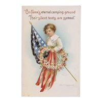 Clapsaddle Signed Memorial or Decoration Day Embossed Postcard Series 2935 American Flag and Wreath