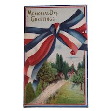 1912 Memorial Day Embossed Postcard Red White and Blue Bunting and Village Scene