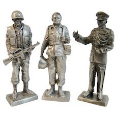 3 Franklin Mint Pewter Miniature Soldiers Vietnam War Era Marines Corporal Corpsman Band Master Lieutenant Colonel American Military Collection