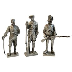 3 Franklin Mint Pewter Miniature Soldiers Colonial Era Navy Seaman Army Rifleman Private American Military Collection
