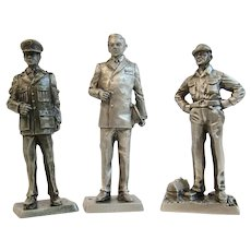 3 Franklin Mint Pewter Miniature Soldiers Korean War Era Air Force Airman NAvy Ensign USAF Airman Ground Crew American Military Collection