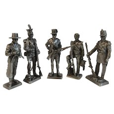 5 Franklin Mint Pewter Miniature Soldiers Peace Time 1800s MArine Sergeant Private 1814 1840 1803 1836 1859 American Military Collection