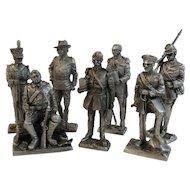 7 Franklin Mint Pewter Miniature Soldiers Peace Time 1800s Army Captain Artillery Infantry Cavalry Sergeant Lieutenant Private American Military Collection