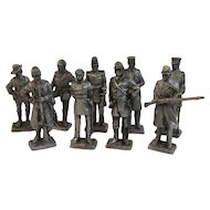 9 Franklin Mint Pewter Miniature Soldiers Civil War Era American Military Collection Officers and Enlisted