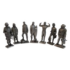 7 Franklin Mint Pewter Miniature Soldiers WWII Era Army Air Force Navy Frogman Diver Airborne American Military Collection