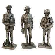 3 Franklin Mint Pewter Miniature Soldiers Vietnam War Era Air Force Captain Sergeant Pilot 1970 American Military Collection