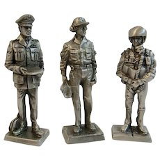 3 Franklin Mint Pewter Miniature Soldiers Vietnam War Era Air Force Captain Sergeant Pilot 1970 American Military Collection