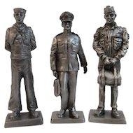 3 Franklin Mint Pewter Miniature Soldiers Vietnam War Era Navy Coast Guard Aviation Flight Captain American Military Collection