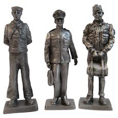 3 Franklin Mint Pewter Miniature Soldiers Vietnam War Era Navy Coast Guard Aviation Flight Captain American Military Collection