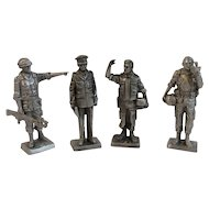 4 Franklin Mint Pewter Miniature Soldiers Vietnam War Era Army Air Cavarly Ranger Colonel Warrant Officer American Military Collection