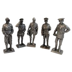5 Franklin Mint Pewter Miniature Soldiers Peace Time 1900s Navy Marines Coast Guard Army Air Corp American Military Collection