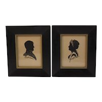 Napoleon and Josephine Silhouettes in Black and Gold Wood Frames Vintage French Decor