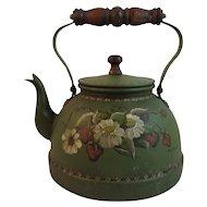 Vintage Tole Painted Teapot with Wood Handle Artist Signed Toleware Folk Art