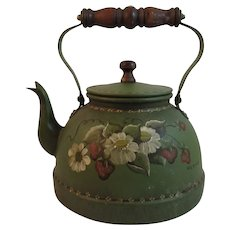 Vintage Tole Painted Teapot with Wood Handle Artist Signed Toleware Folk Art