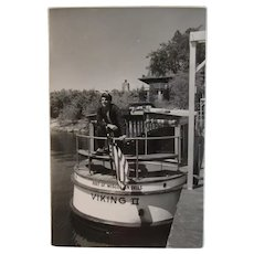 Captain on Boat with American Flag Real Photo Postcard Wisconsin Dells Viking II