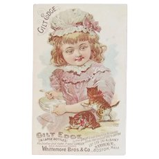Victorian Trade Card Kitty Cats and Girl with Bowl of Milk Whittemore Bros Gilt Edge Ladies Shoe Dressing