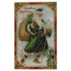Tuck Green Robe Santa Claus Embossed Christmas Postcard German Germany