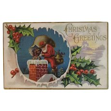 Santa Climbing into the Chimney Embossed Christmas Postcard