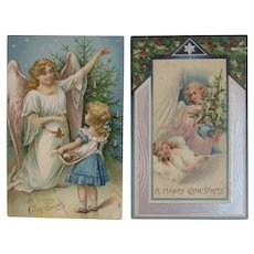 2 Christmas Embossed Postcards Angels Trees and Children one German