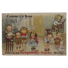 c 1910 Campbell's Kids Postcard No 1 Thrive on soups 10 Cents a Can