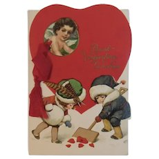 German Miniature Booklet Valentine Card with Children Shoveling Hearts in the Snow Germany Edwardian Embossed