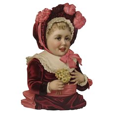 Large Victorian Die Cut Girl with Flowers Embossed Chromolithograph Diecut