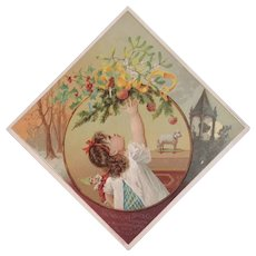 Woolson Spice Merry Christmas Girl with Elf Doll Reaching for an Orange Lion Coffee Advertising Trade Card Victorian