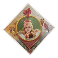 Woolson Spice Merry Christmas Girl with Muff and Birds Lion Coffee Advertising Trade Card Victorian