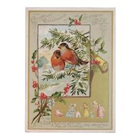 Woolson Spice Christmas Compliments Kate Greenaway Children and Robins Birds Lion Coffee Advertising Trade Card Victorian