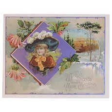 Woolson Spice Merry Christmas Girl in Huge Hat Lion Coffee Advertising Trade Card Victorian