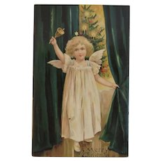 German EAS Christmas Postcard Angel Bell Christmas Tree with Candles Undivided Back