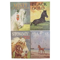 4 Marguerite Henry Horse Books Misty of Chincoteague Black Gold Stormy and Sea Star Wesley Dennis Illustrated 1975 1976