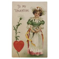 1909 German Fantasy Valentine Postcard Lady in Daisy Flower Dress and Hat Embossed Germany