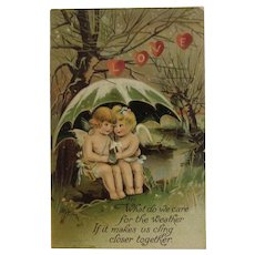 1910 German Valentine Postcard Cherubs Angels Under Umbrella Embossed Germany BB London