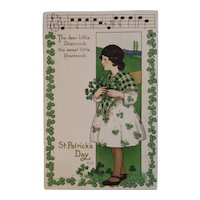 1924 MEP St. Patrick's Day Postcard Music Song Lyrics Margaret Evans Price Illustrator Embossed Shamrocks