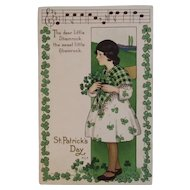 1924 MEP St. Patrick's Day Postcard Music Song Lyrics Margaret Evans Price Illustrator Embossed Shamrocks