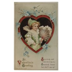 German Clapsaddle St. Valentine's Day Postcard Embossed Girl with Feather Fan in Elizabethan Dress IAP