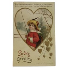German Ellen Clapsaddle Valentine's Day Postcard Embossed Child and Poetry Gold Hearts IAP