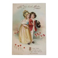 German Clapsaddle St. Valentine's Day Postcard Embossed Colonial Couple Children IAP