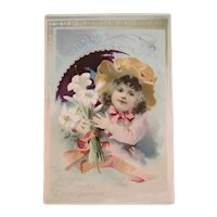 Woolson Spice Easter Greetings Girl Easter Bonnet with Lilies Lion Coffee Large Advertising Trade Card Victorian