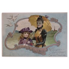 Woolson Spice Easter Greetings Mother and Child In Easter Bonnets with Lilies Lion Coffee Large Advertising Trade Card Victorian