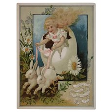 Woolson Spice Easter Greetings Girl Driving Egg Cart Pulled By Bunnies Lion Coffee Large Advertising Trade Card Victorian