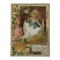 Woolson Spice Easter Greetings Girl In Cracked Egg Flowers Bunnies Lion Coffee Large Advertising Trade Card Victorian