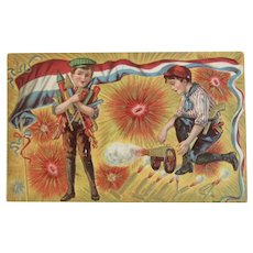 July 4th Firecrackers and Cannon Postcard Embossed Fourth Unused