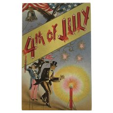1911 Uncle Sam July 4th Firecrackers Eagle American Flag Liberty Bell Postcard Embossed Fourth 4
